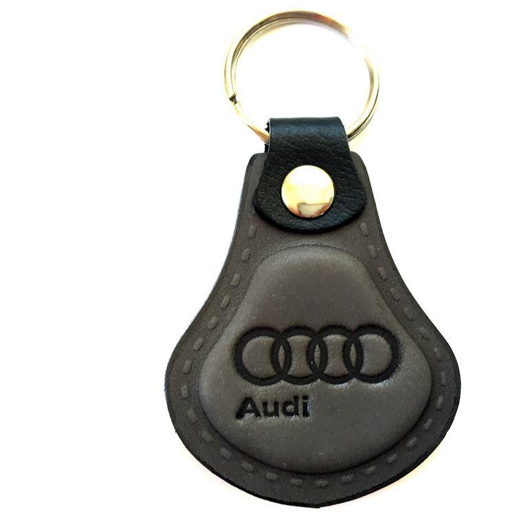 Exkluzívna kožená kľúčenka AUDI - šedá e40429a8899